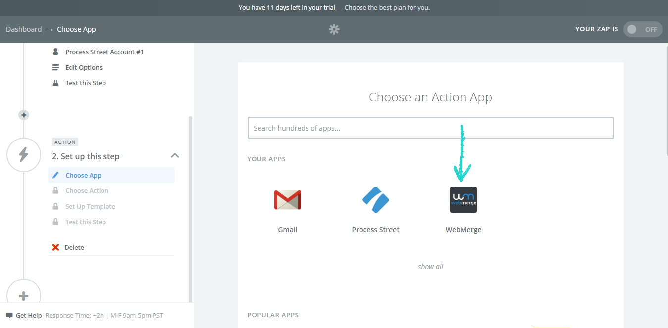 Setting up WebMerge as Your Action Step