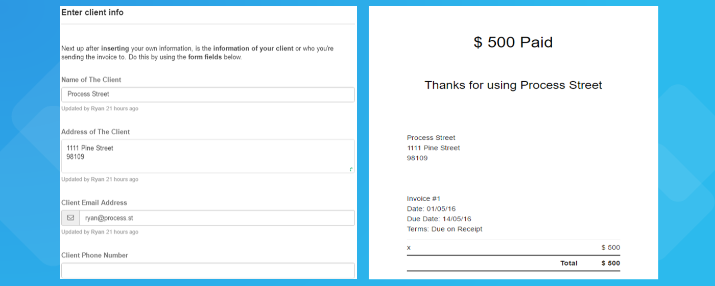 Email Invoice End Result