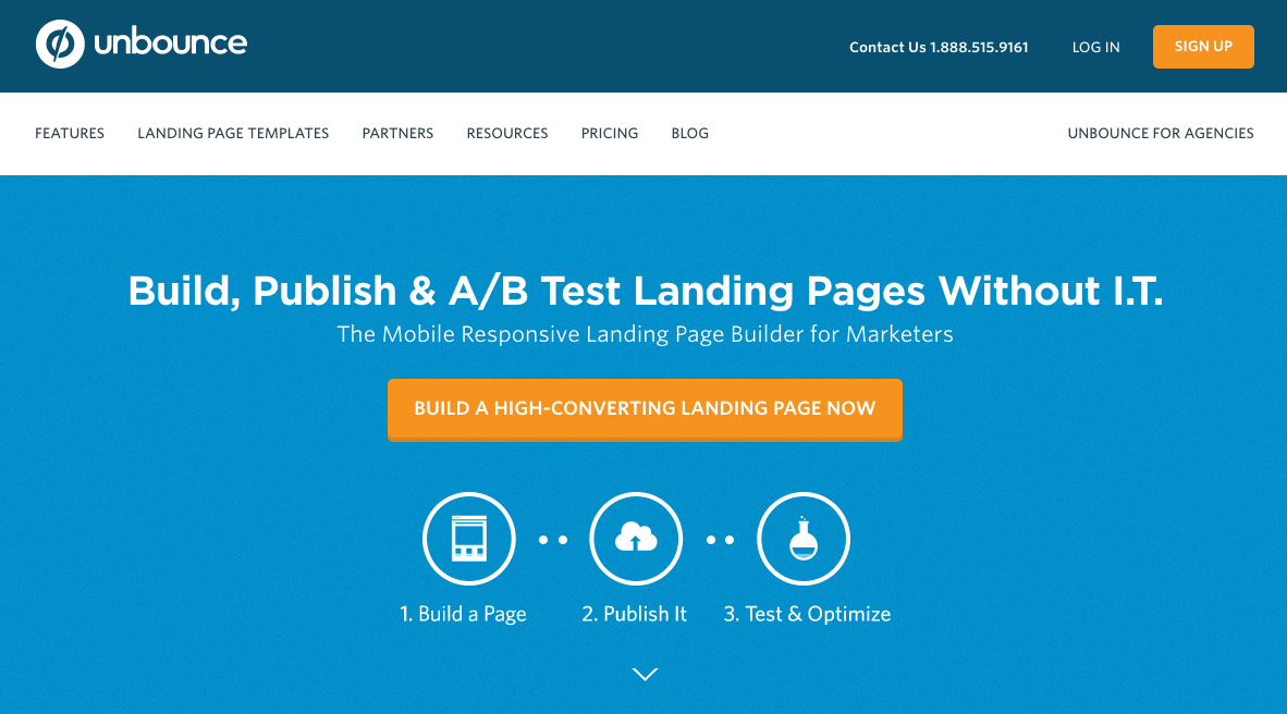 Unbounce SaaS landing page