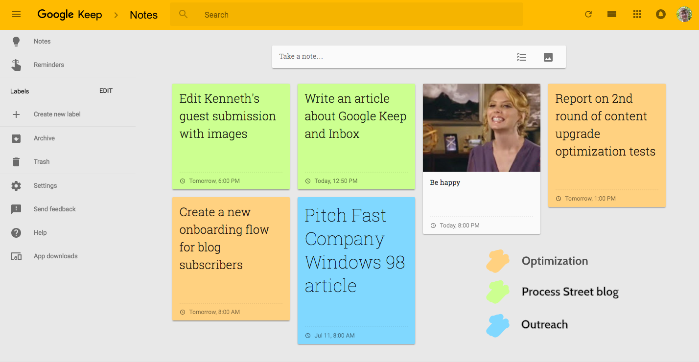 Google Keep Color Code
