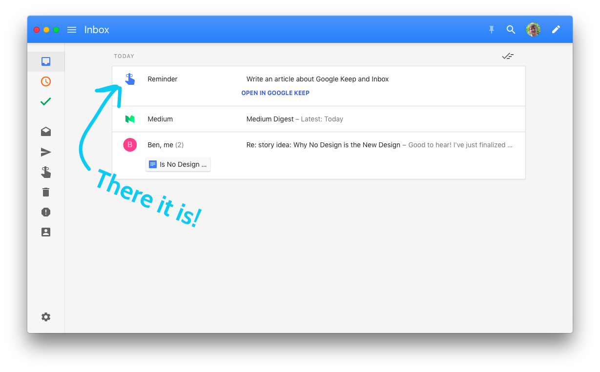 Google Keep Reminder in Inbox