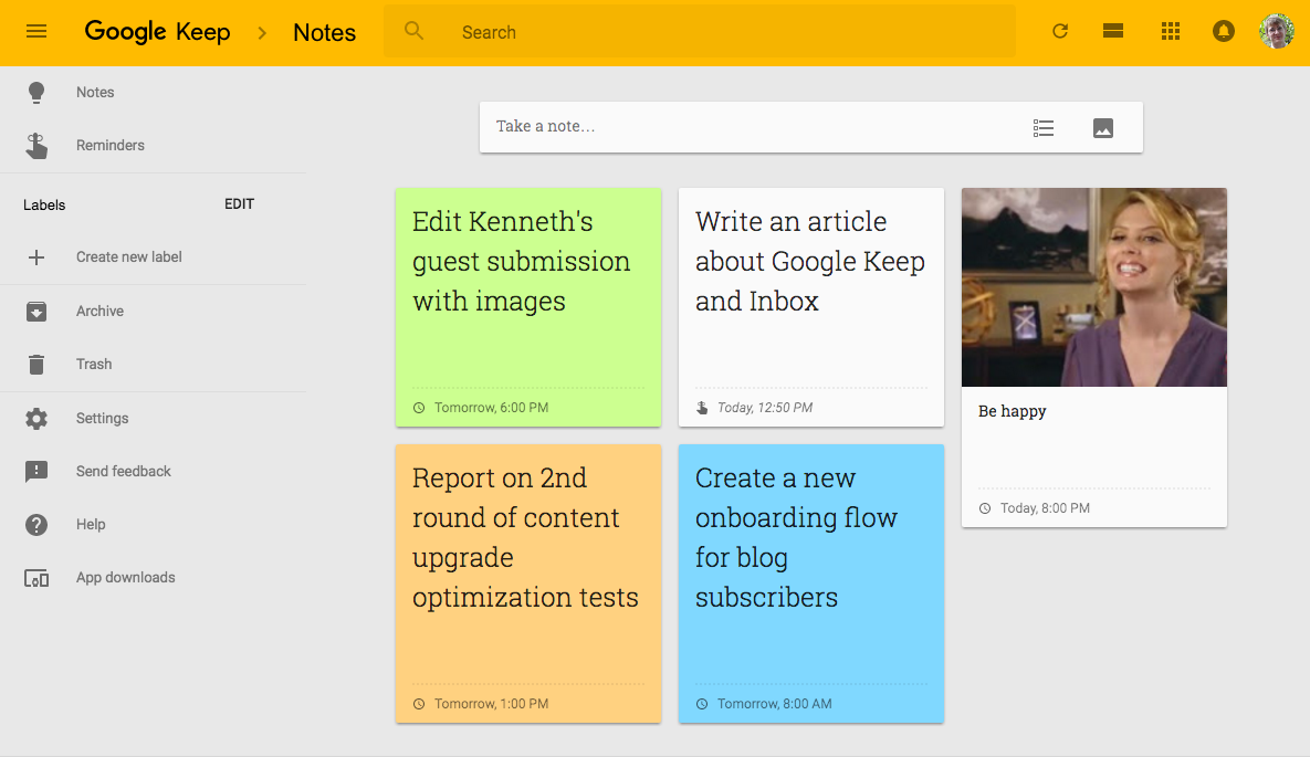 Google Keep with Reminders