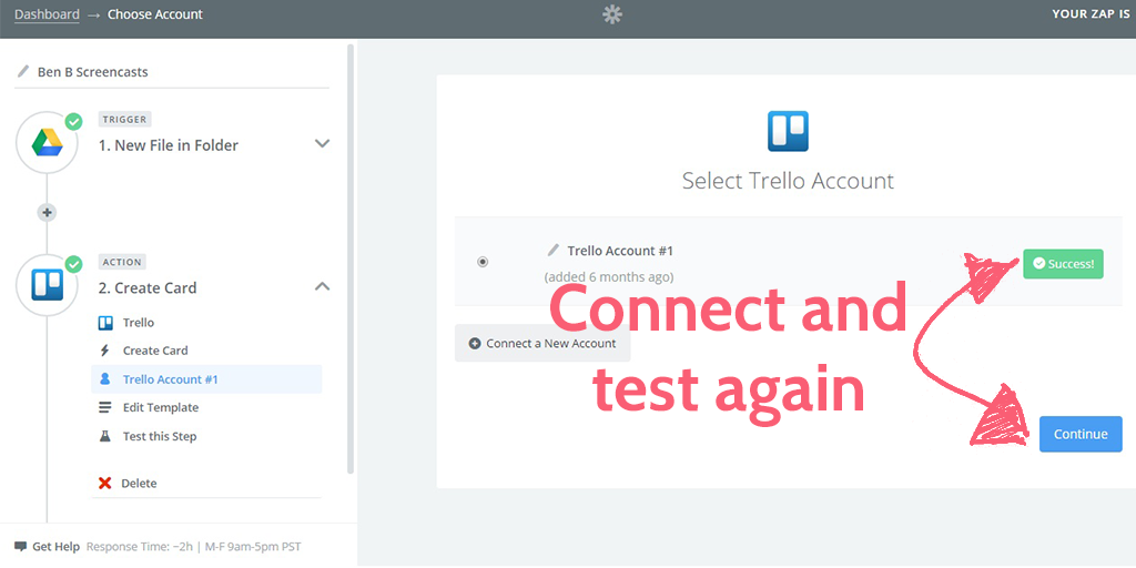 feedback process - trello account