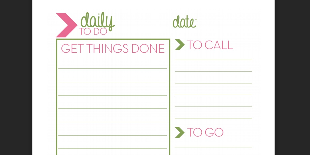 daily to do list templates