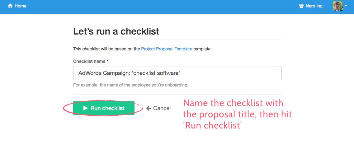 Name a checklist