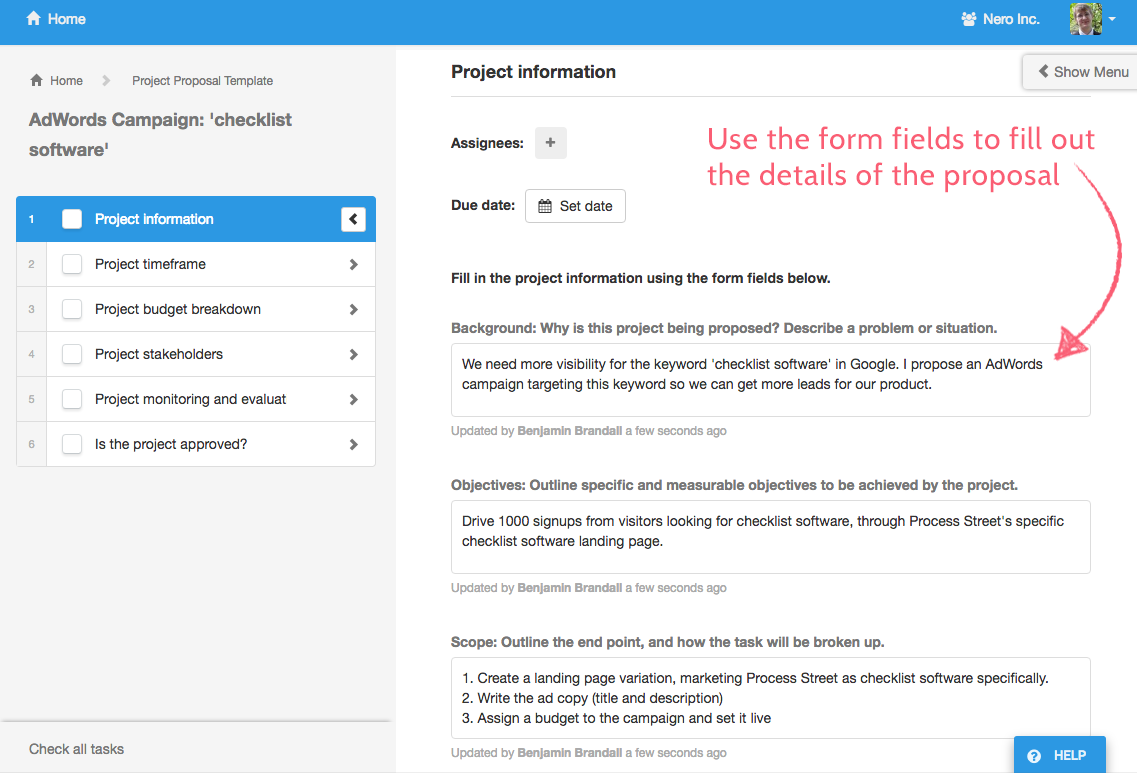 Use form fields to fill out the proposal details