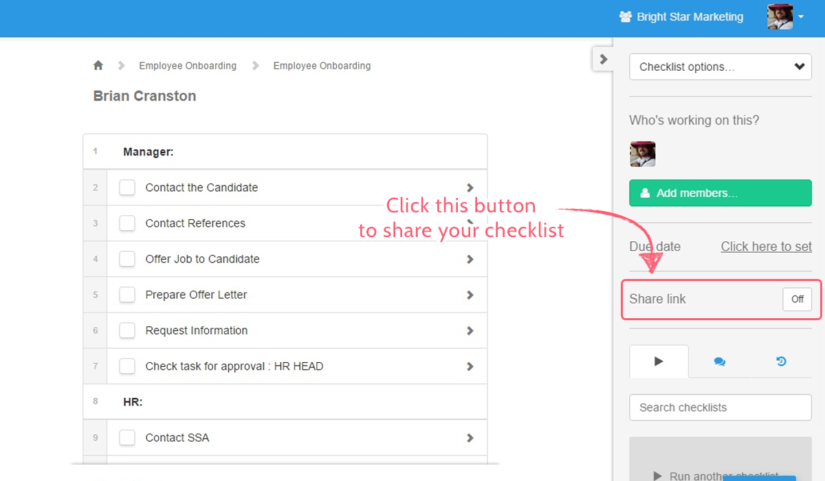 checklist sharing - sharing button