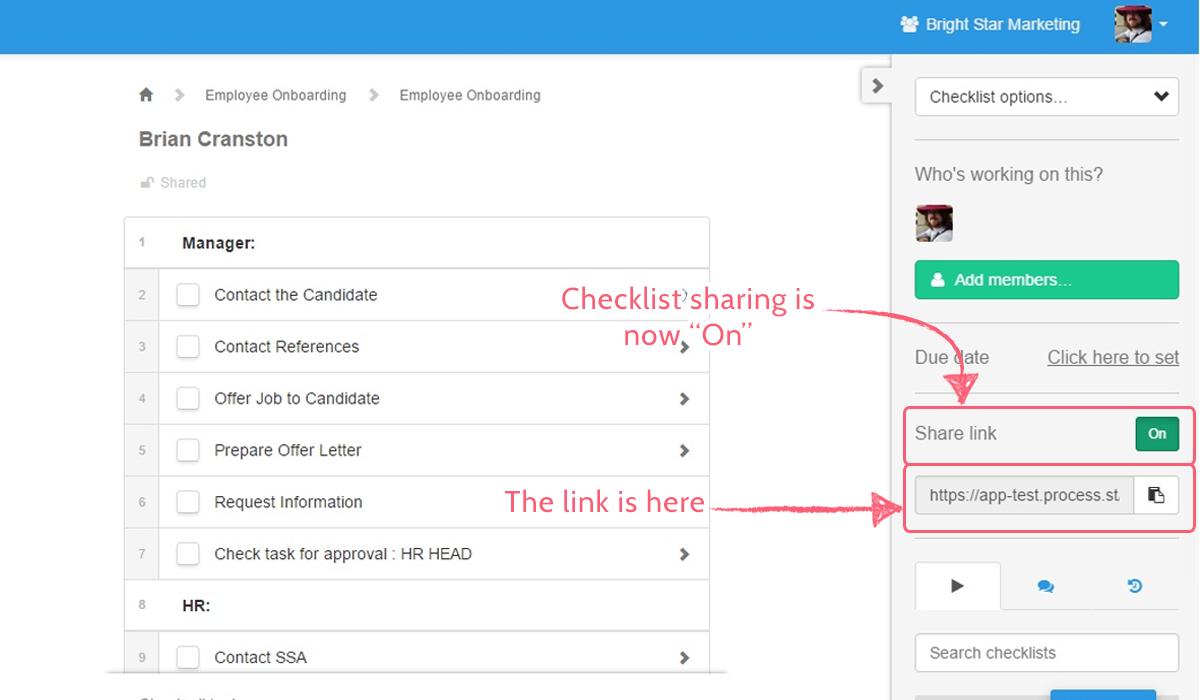 checklist sharing - sharing link