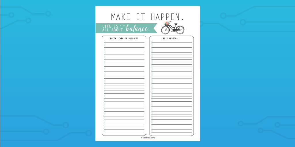 Landeelu Balance To Do List Template