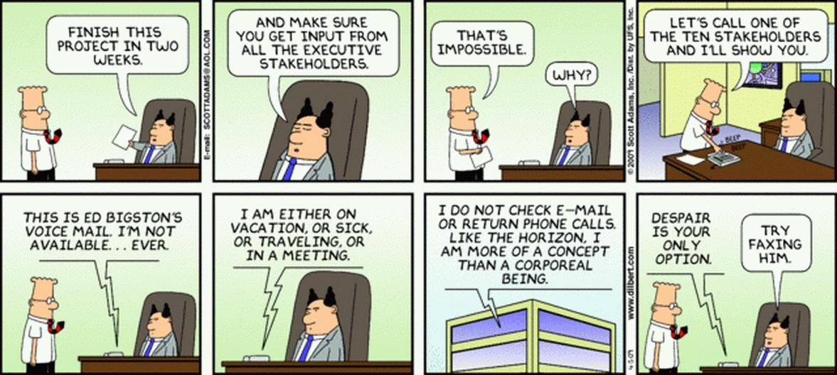 project management steps - dilbert