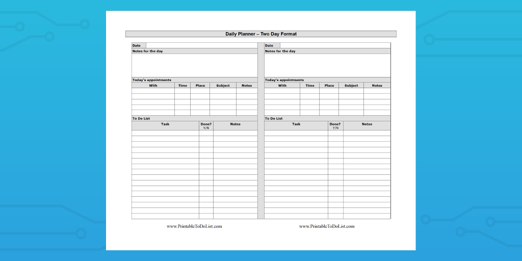 tidy forms two daily planner