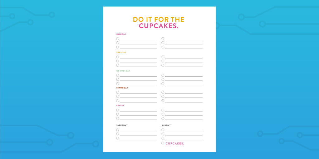 weekly cupcakes checklist