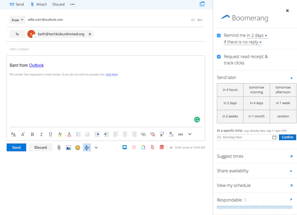 outlook extensions boomerang