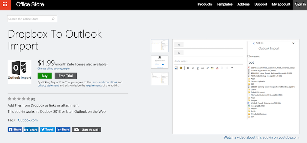 outlook extensions dropbox
