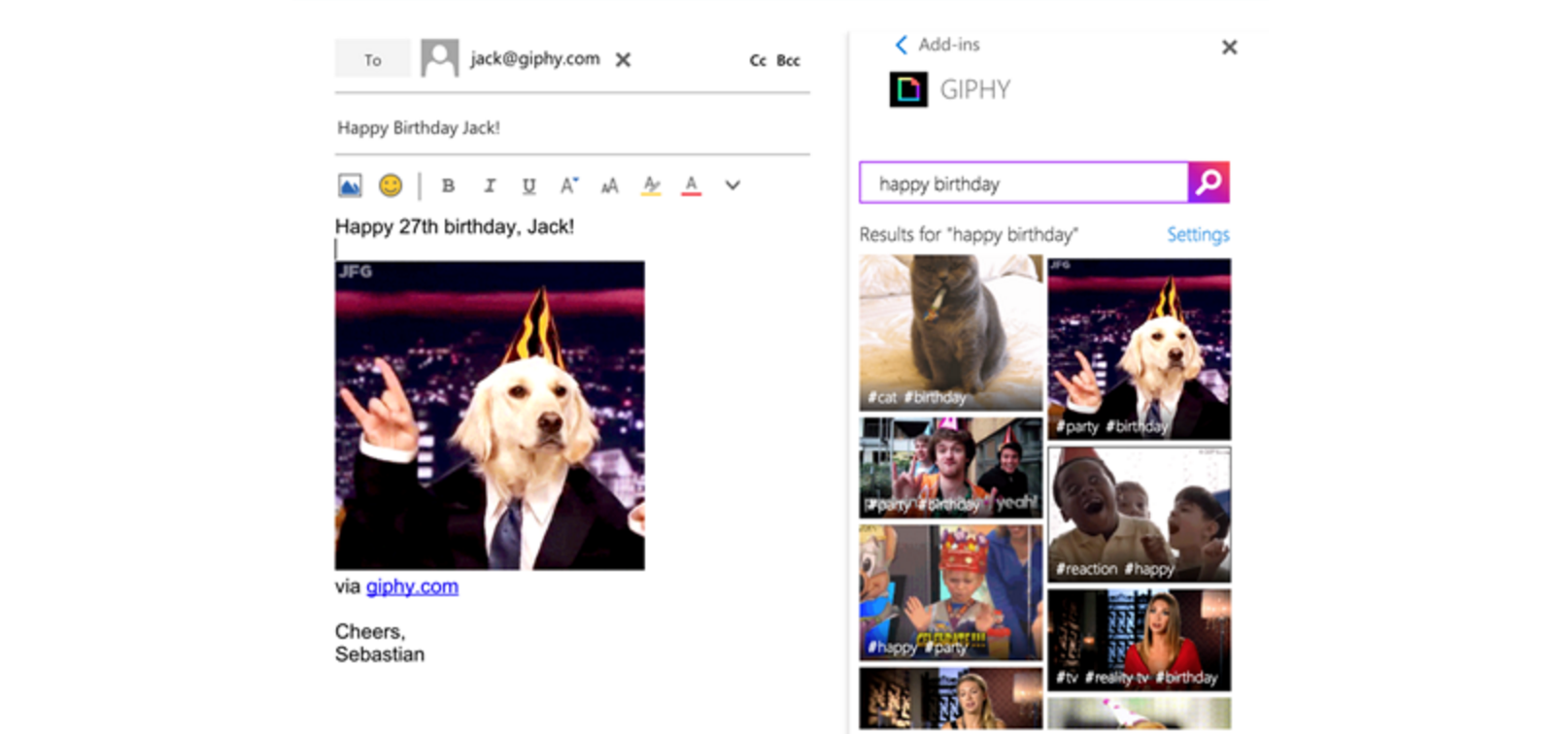 outlook extensions giphy