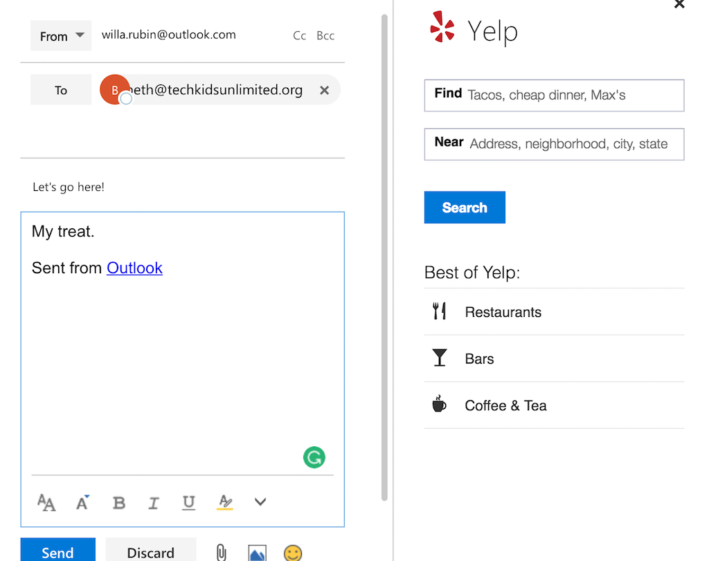 outlook extensions yelp