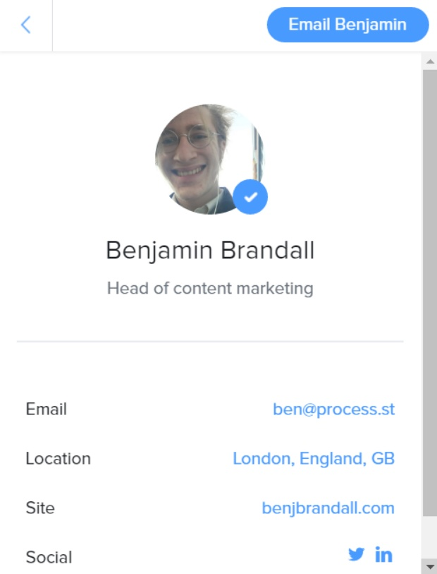 find email address - clearbit connect ben b