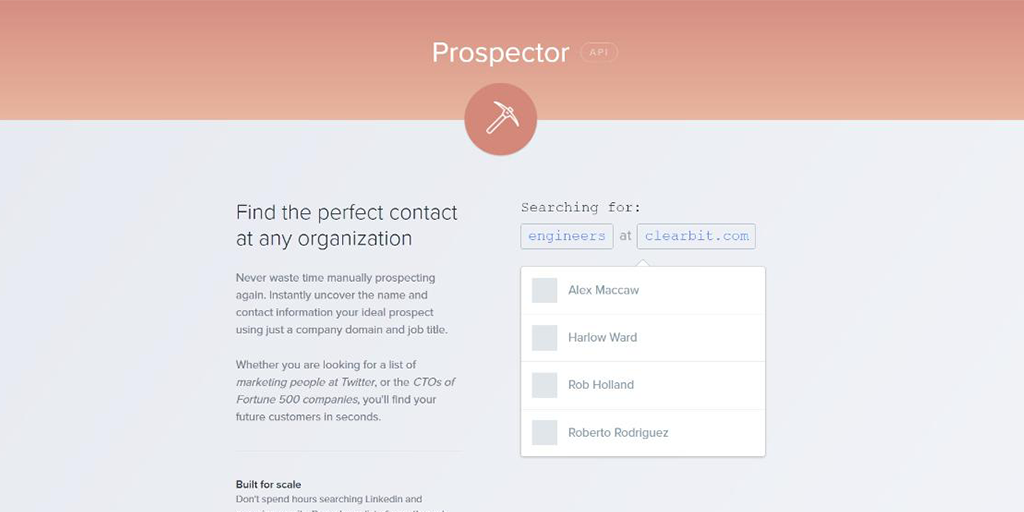 find email address - clearbit prospector