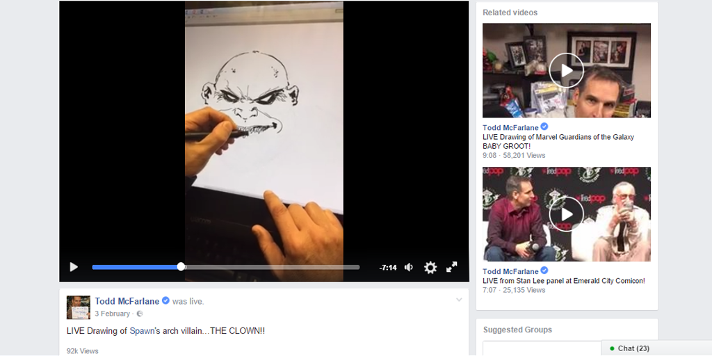live streaming - drawing todd mcfarlane