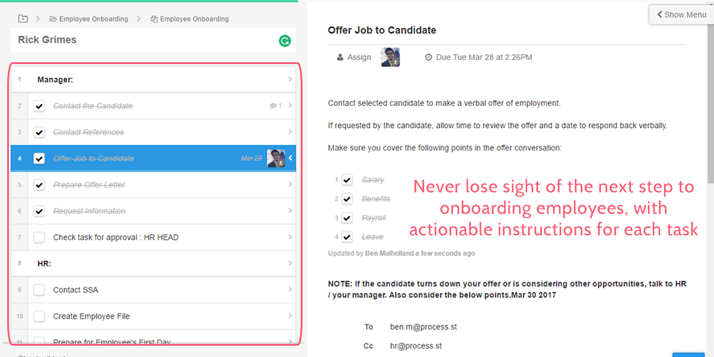 example processes employee onboarding