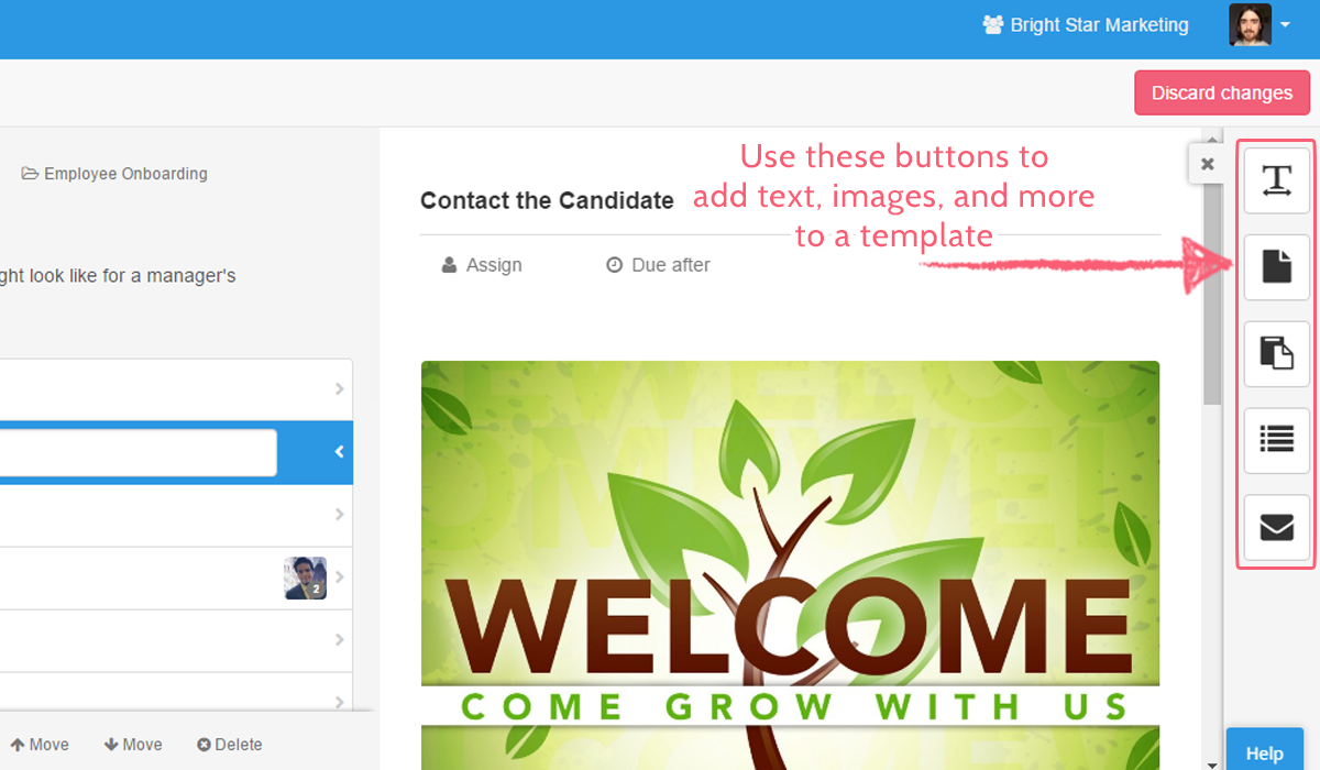 process street consultants - template widget buttons