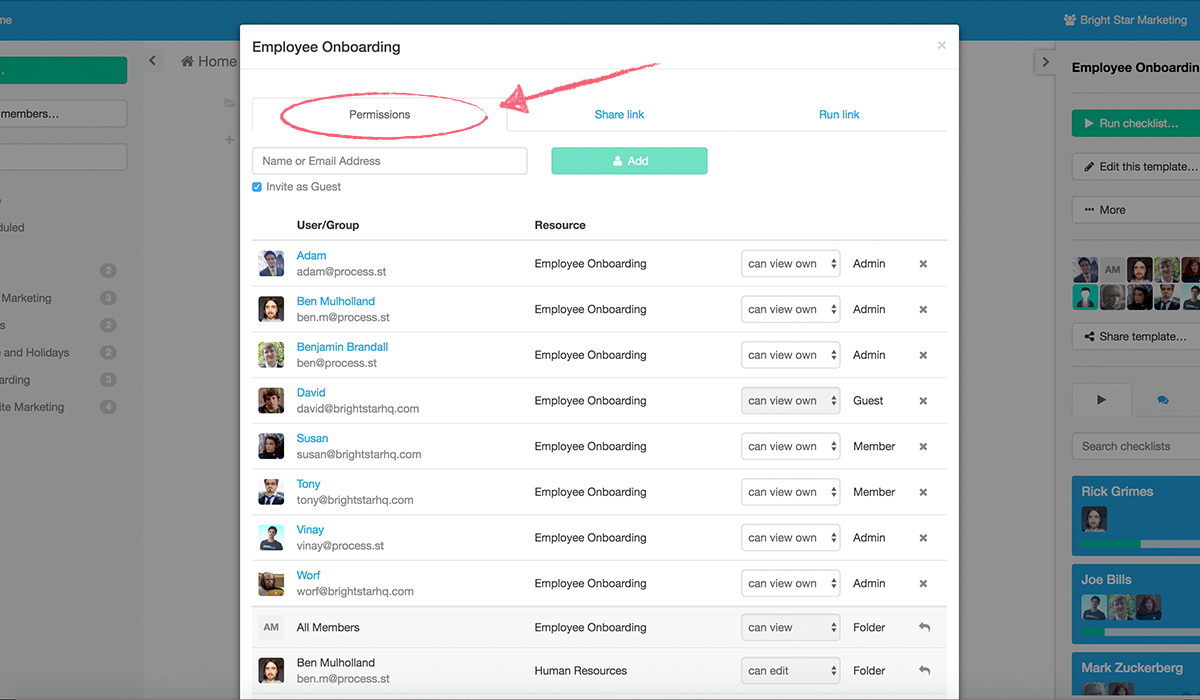 list of available assignees and groups