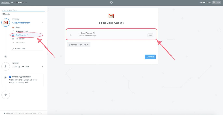 zapier - choose gmail account
