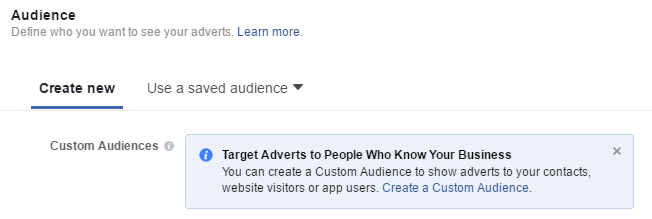 create a custom audience facebook retargeting