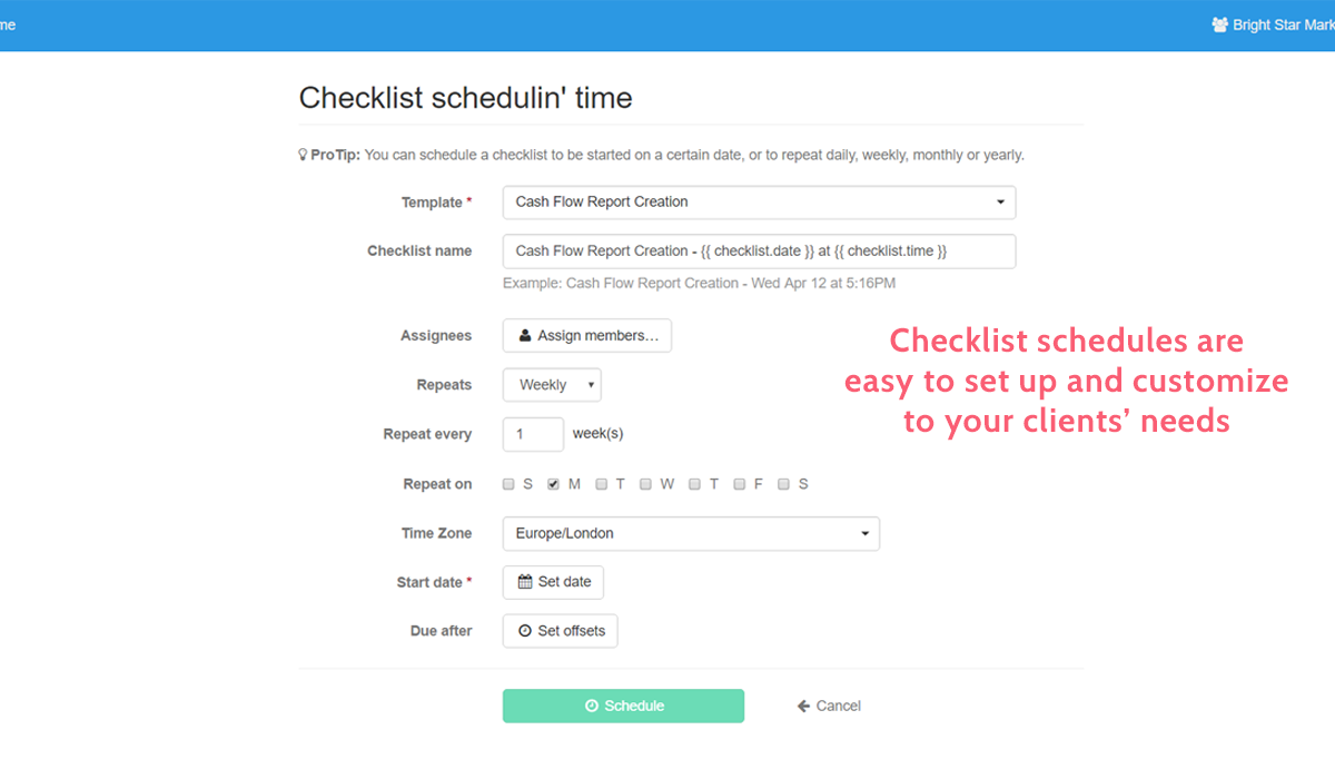 document client processes schedule checklists