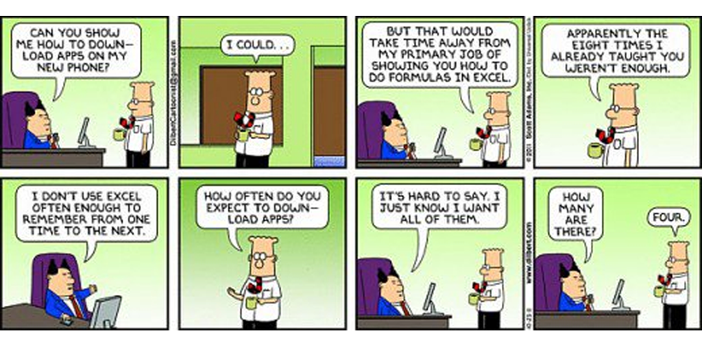 process documentation software - excel dilbert