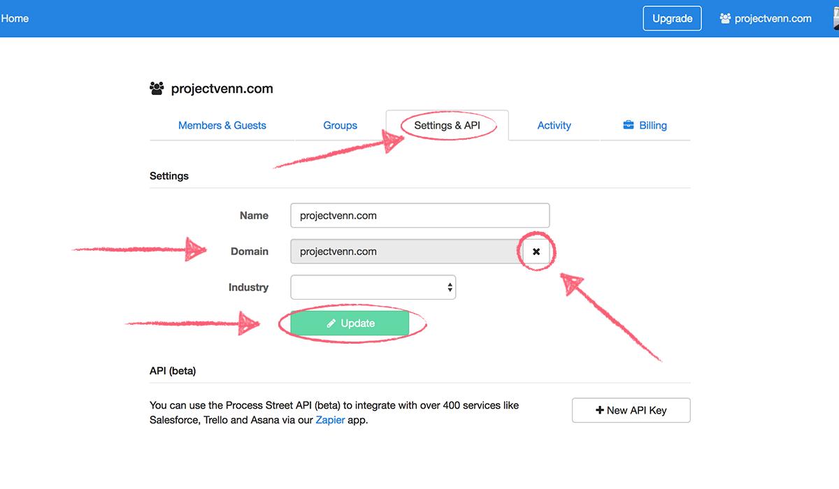 organization settings - Settings and API