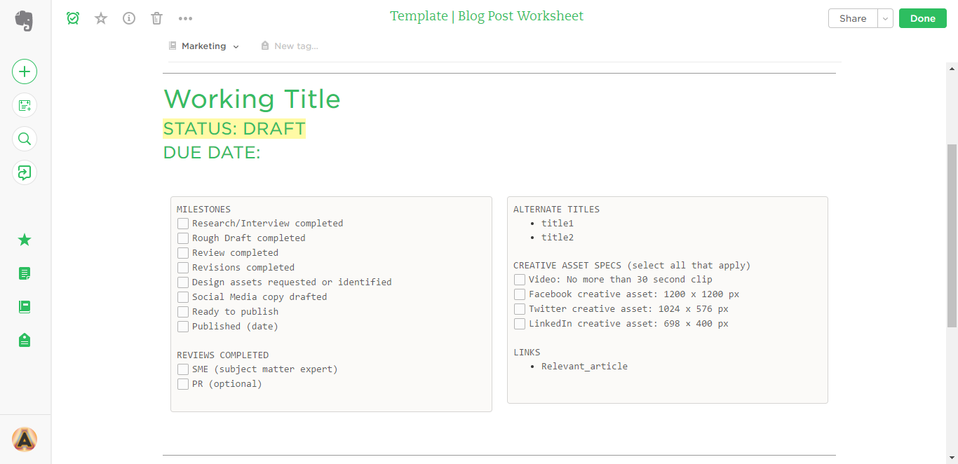 blog post evernote template
