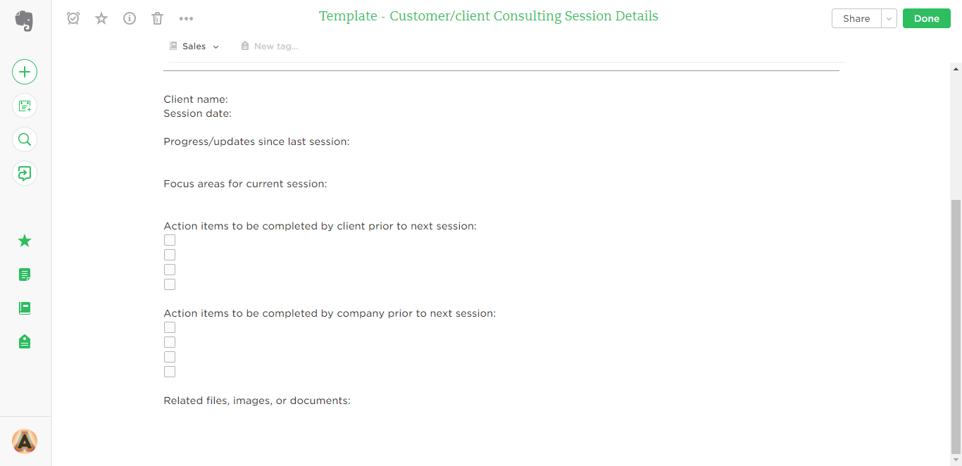 client consulting session details evernote templates