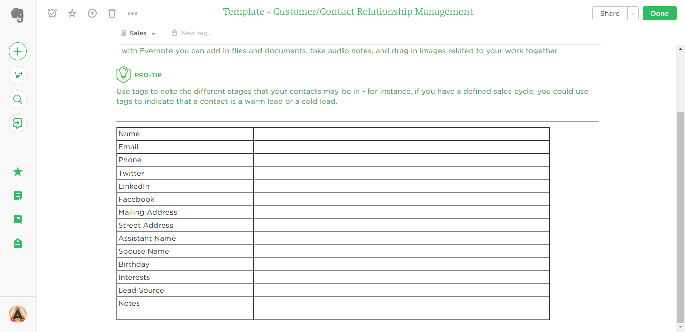 contact relationship management evernote templates