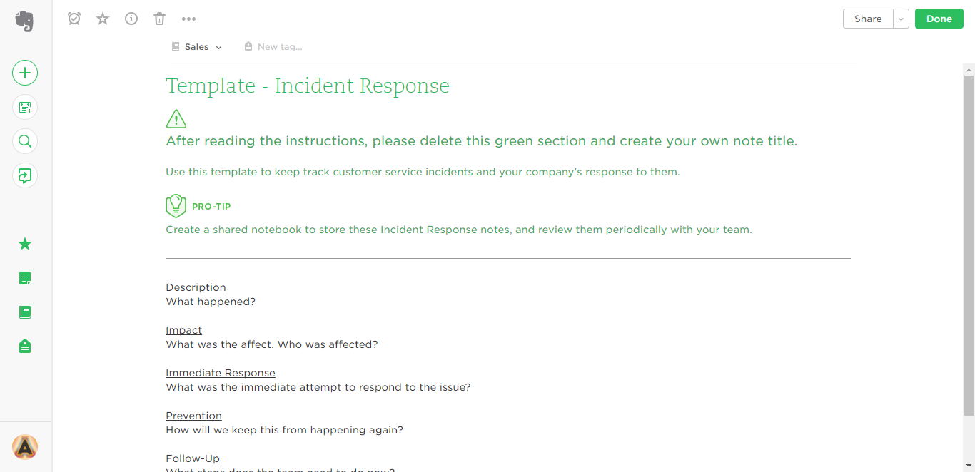 incident response evernote template