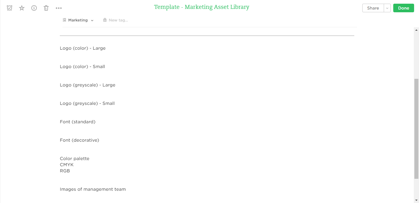 marketing asset library evernote templates