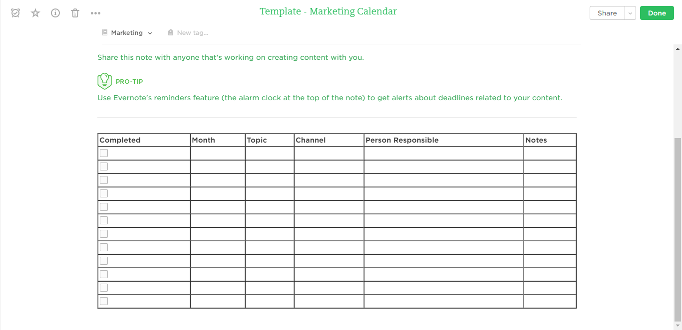 marketing calendar evernote templates