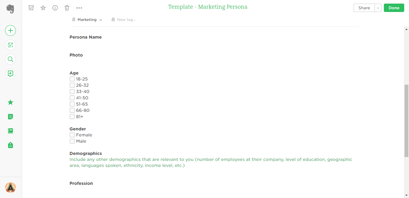 marketing persona evernote template
