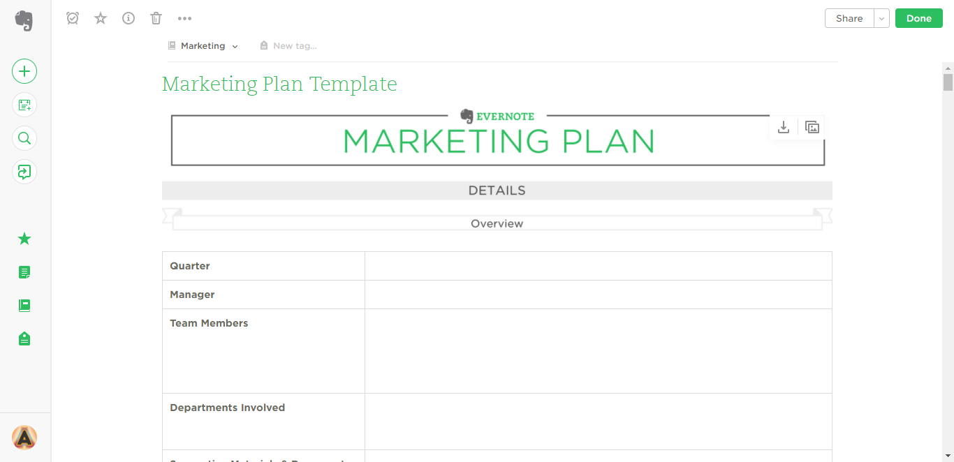 marketing plan evernote templates
