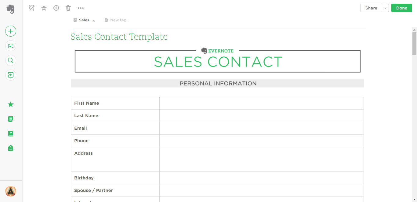 sales contact evernote templates