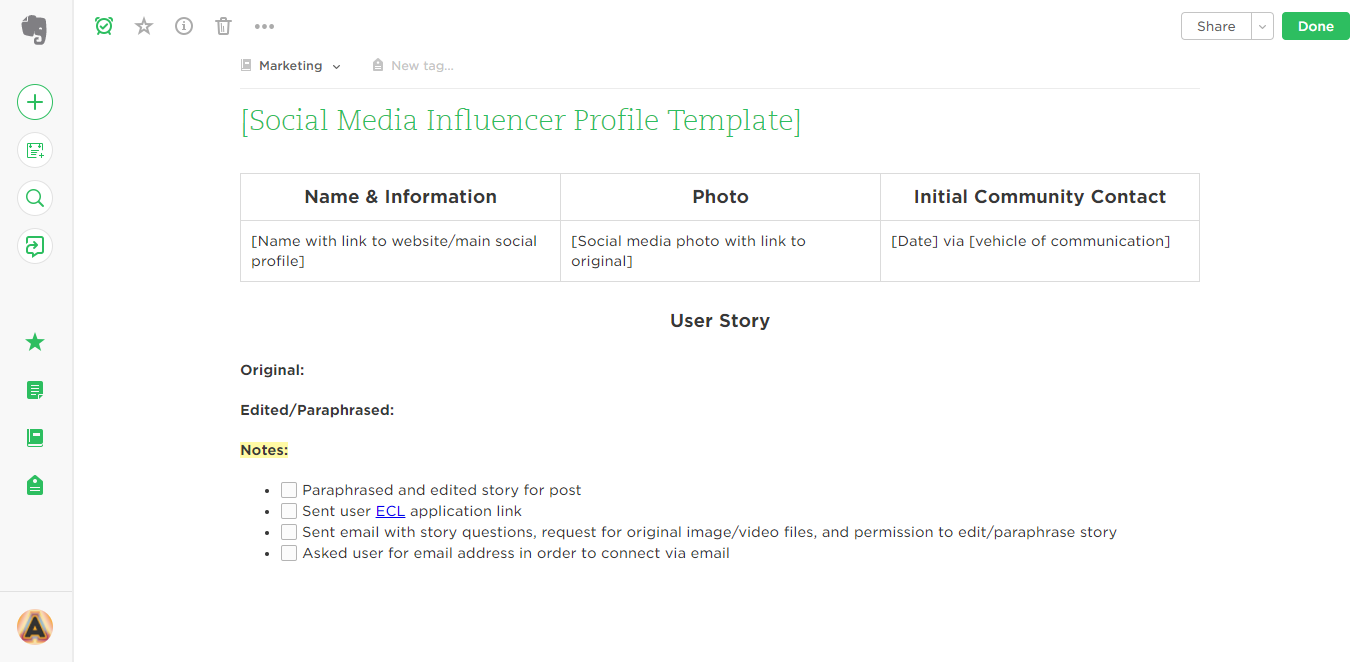 social media influencer evernote templates