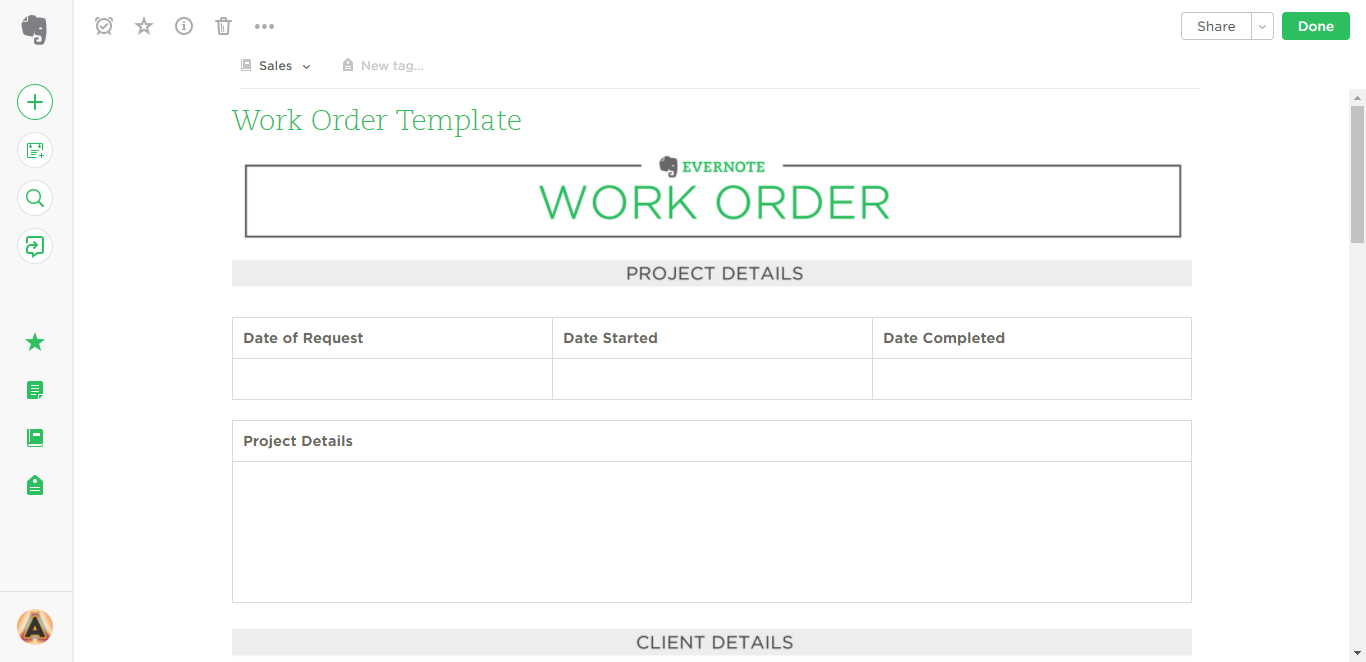 work order evernote templates