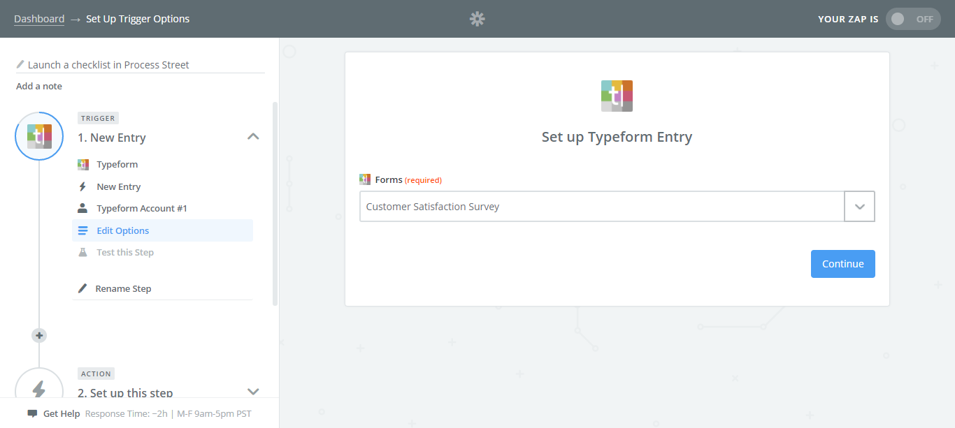 integrate process street with typeform survey selection