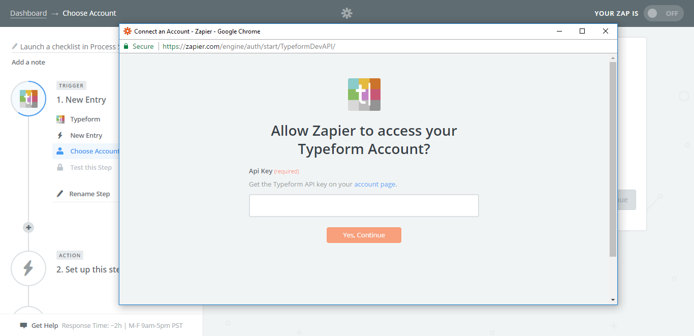 integrate process street with typeform zapier api