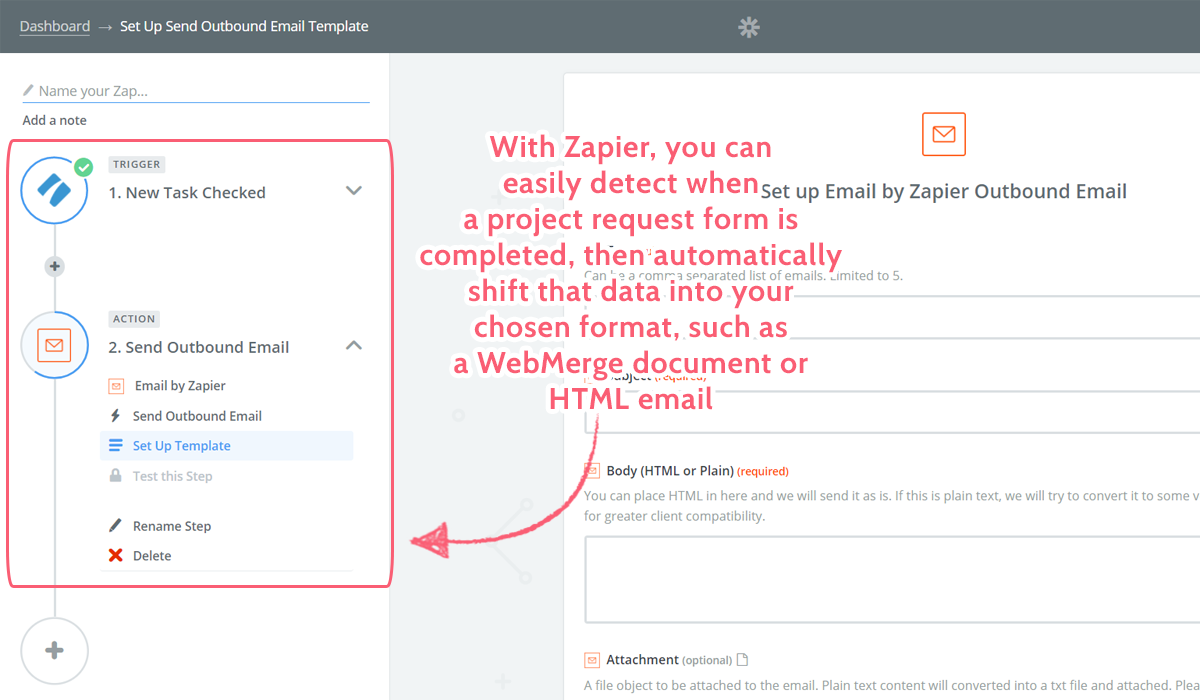 project request form - zapier format request