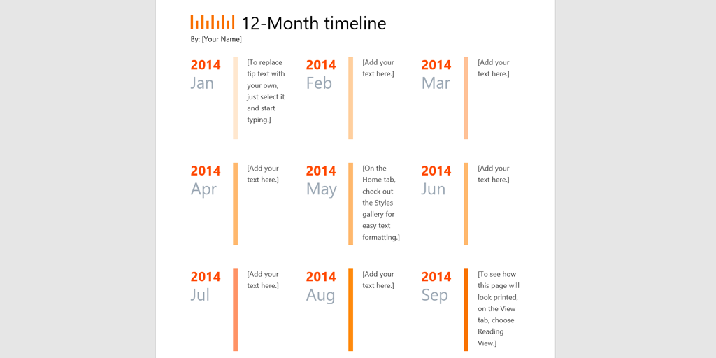 timeline template ms 12 month template