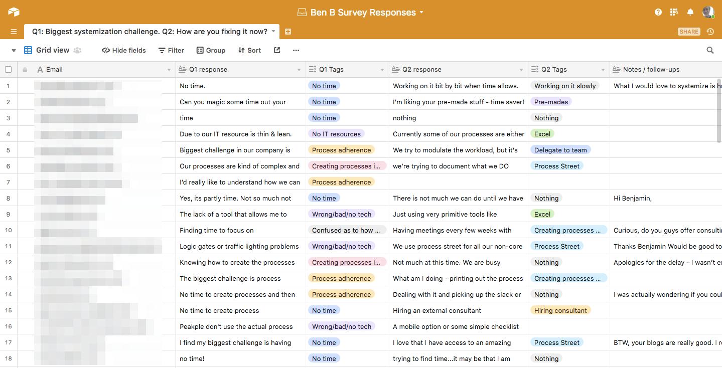 Analyzing customer feedback in Airtable