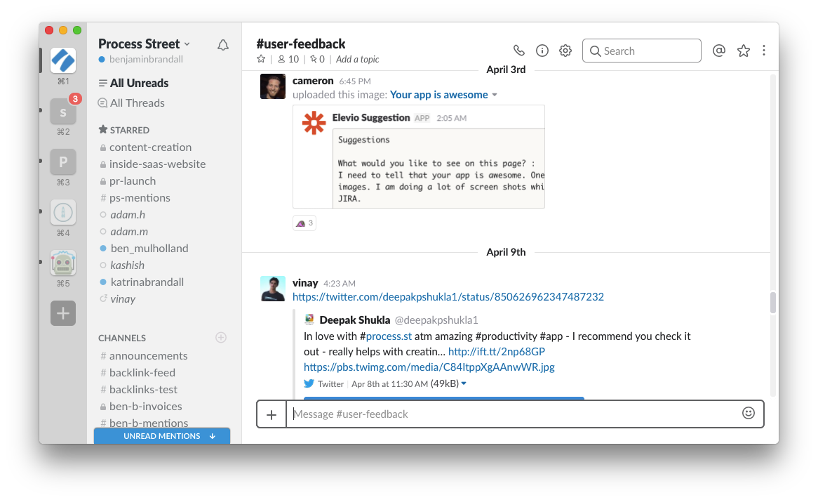 User feedback in Slack