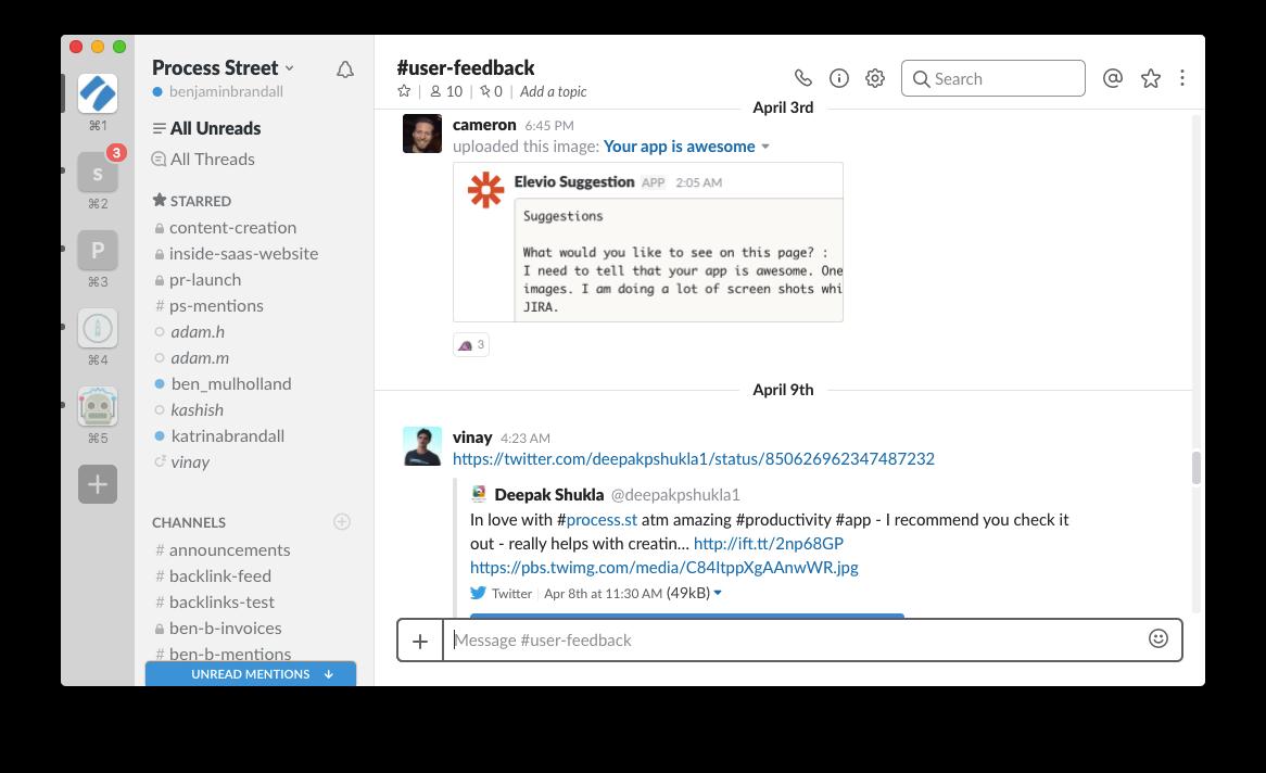 User feedback in Slack