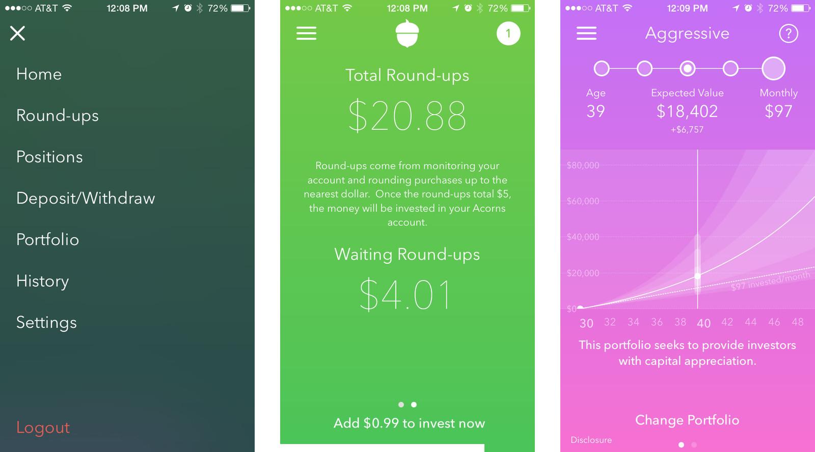 micro investing acorns app